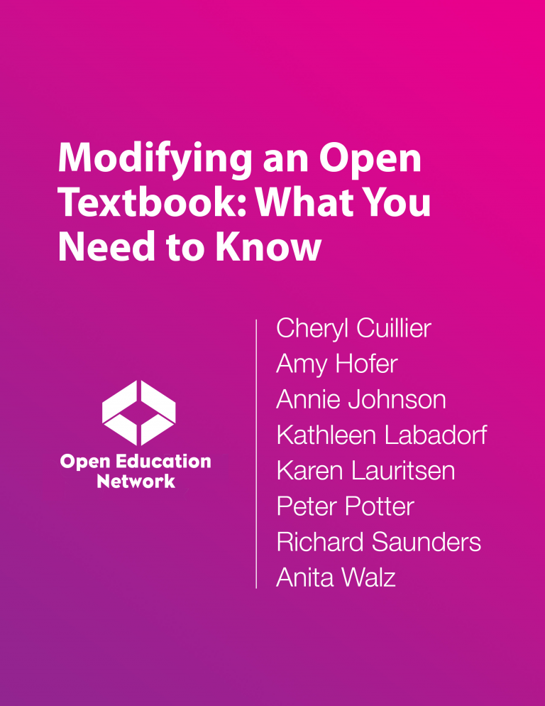 Cover image for Modifying an Open Textbook: What You Need to Know