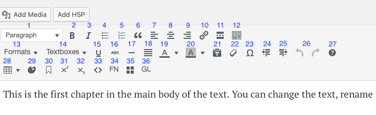 Visual editor toolbar with tools numbered