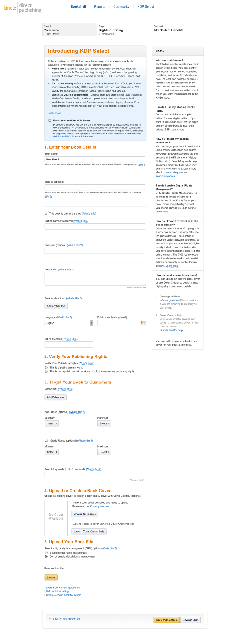 The KDP book publishing interface