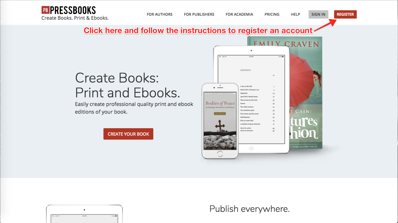 How to start the Pressbooks registration process