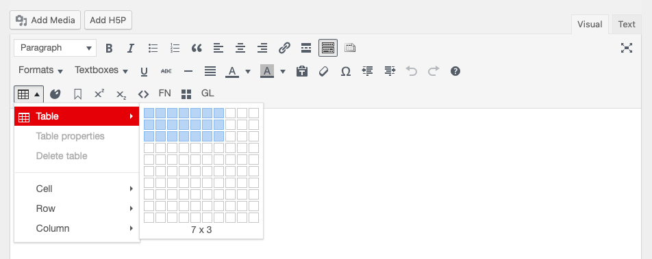 The table tool open on the chapter editor