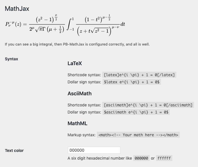 MathJax admin page