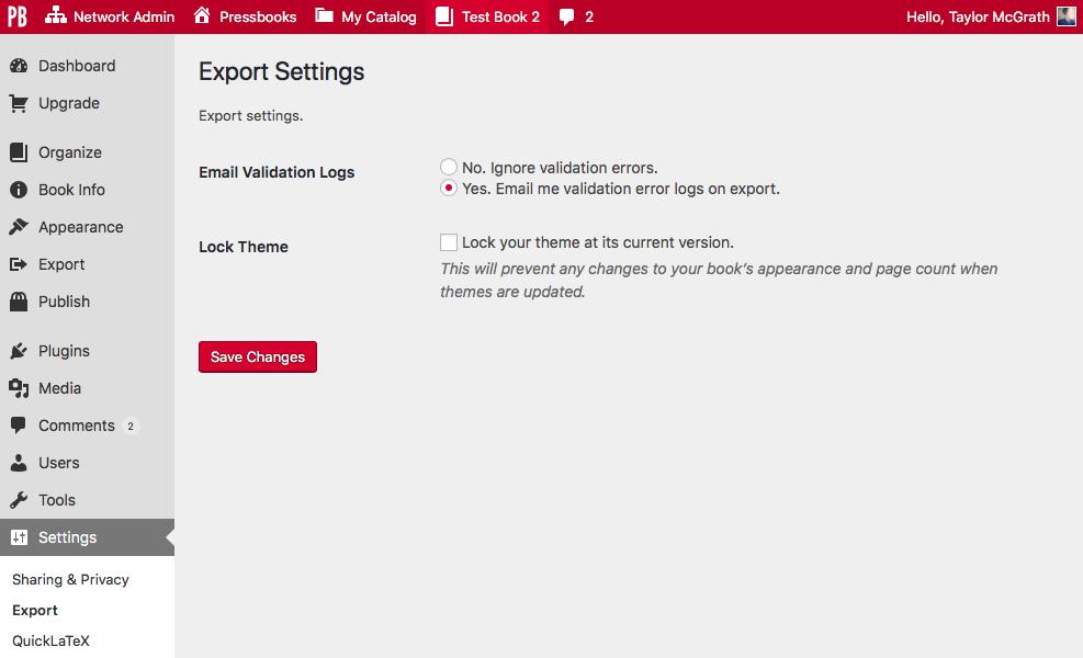 Export Settings screen on Pressbooks.com
