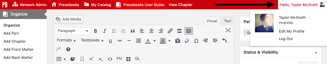 Profile settings in the upper right corner of the Presssbooks dashboard