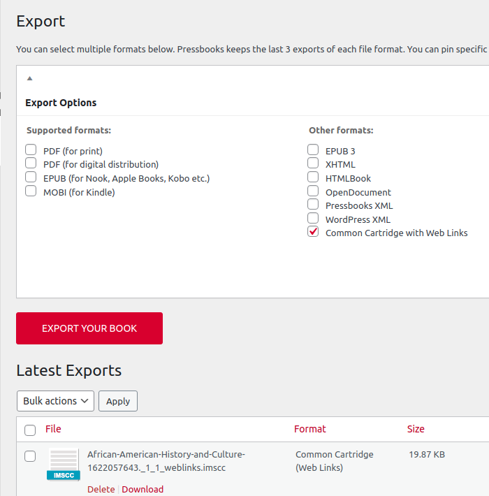 Export menu in Pressbooks with Common Cartridge with weblinks option selected