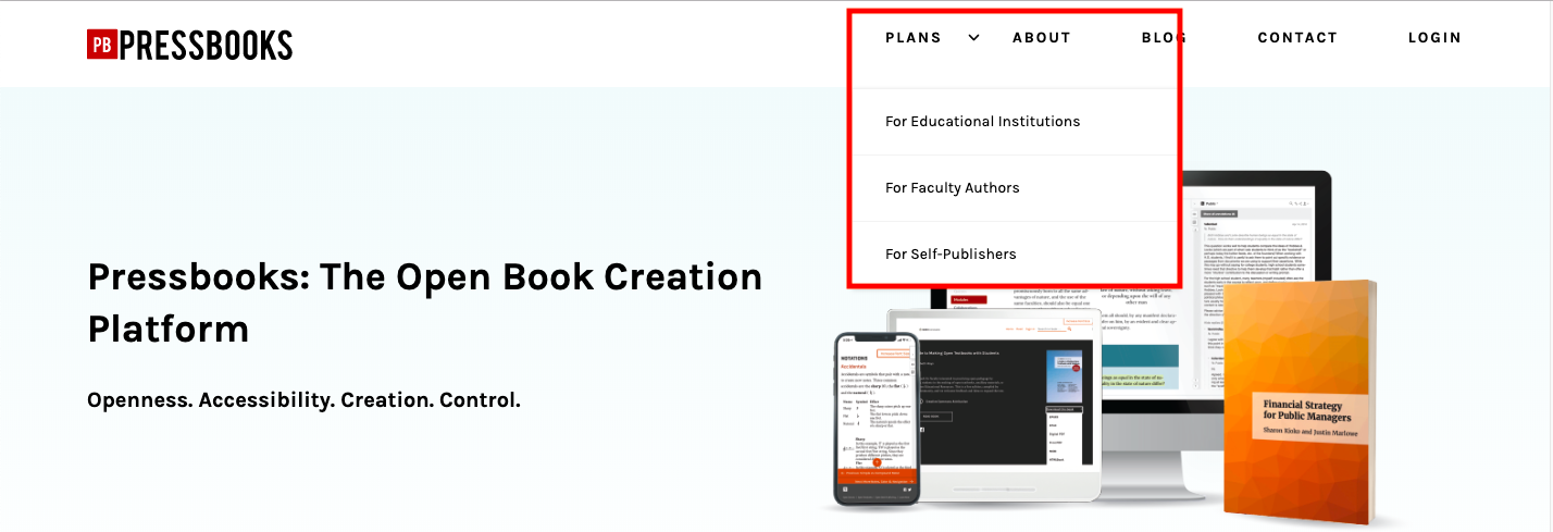 The Pressbooks homepage with Plans menu tab open