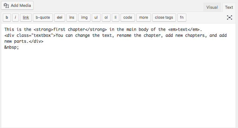The text editor interface