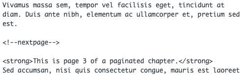The pagination code in between two paragraphs in the text editor of a chapter