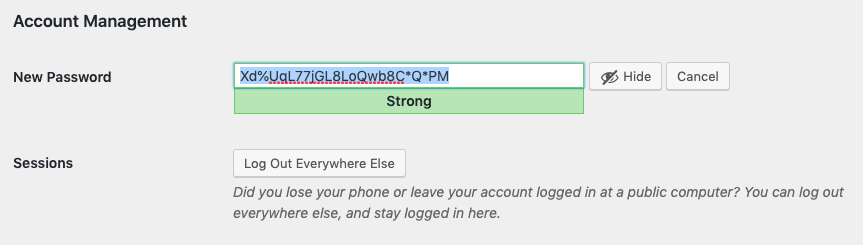 Generated password on the profile settings page.