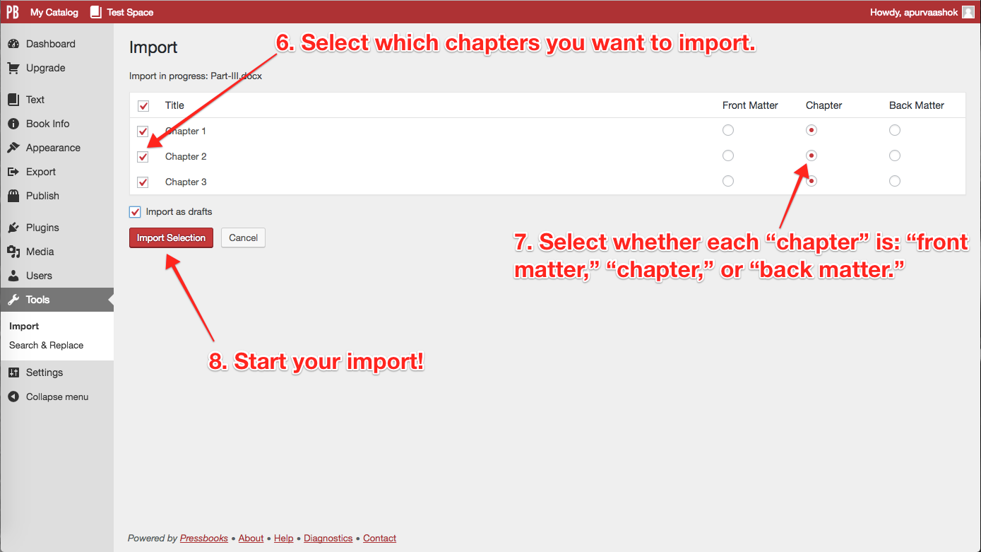 Steps 6, 7, 8: Select which chapters to import, what kind of content they are, and then Start!