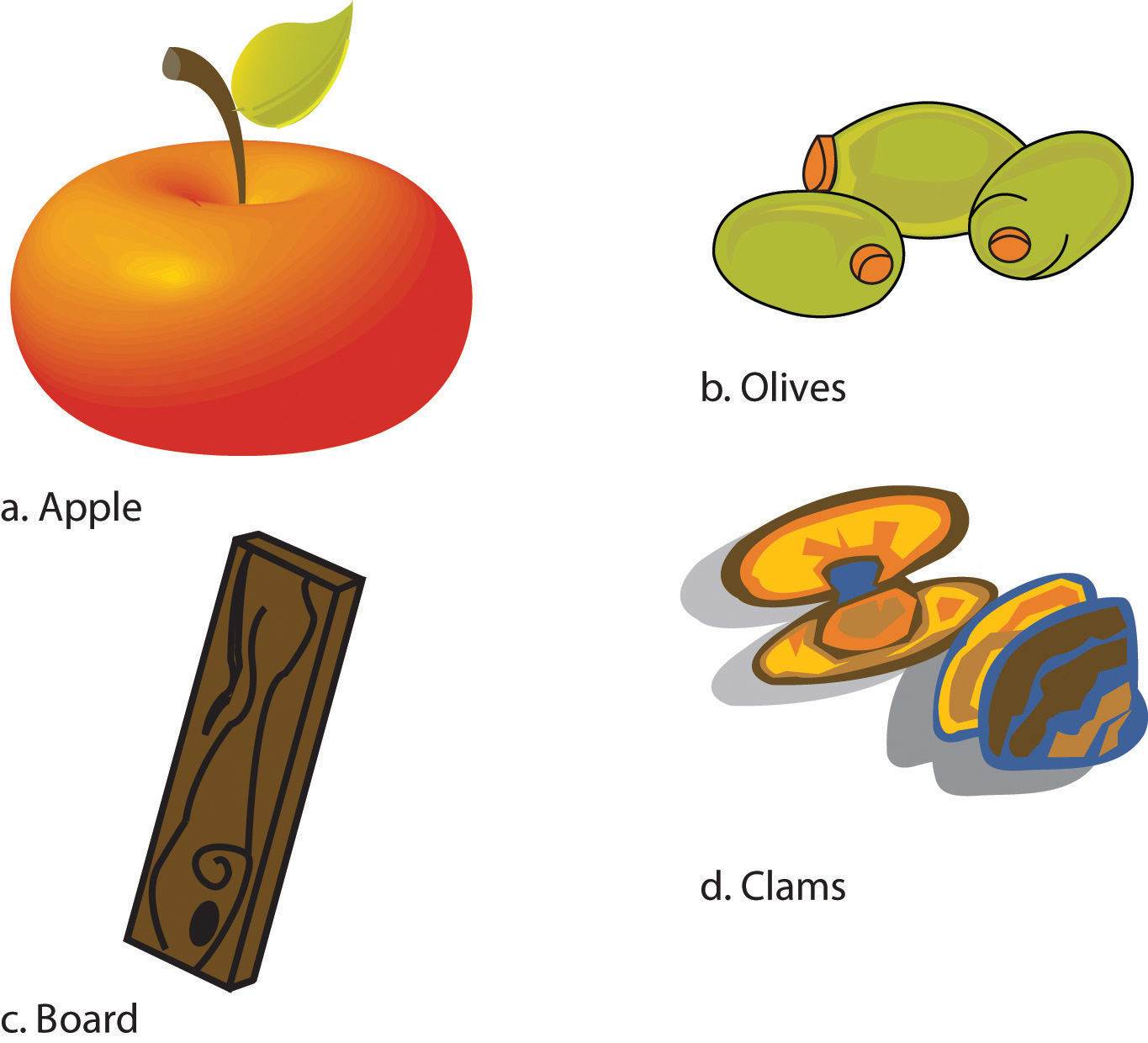 A collage of 4 items: a. Apple, b. Olives, c. Board, and d. Clams