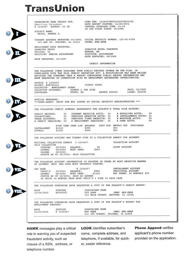 First Page of a Typical Credit Report