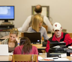 Image of Texas Tech student studying in the law library.