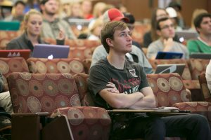 Image of a student in Rawls College of Business being attentive in class.